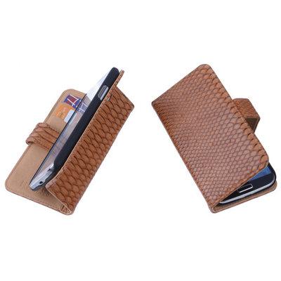 Bestcases Slang Bruin Hoesje voor Huawei Ascend Y330 Bookcase Cover