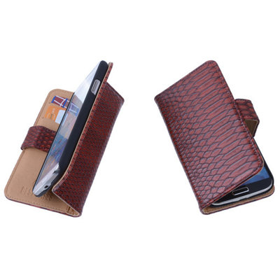 Bestcases Slang Rood Hoesje voor Huawei Ascend Y330 Bookcase Cover
