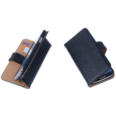 Bestcases Slang Zwart Hoesje voor Huawei Ascend Y300 Bookcase Cover