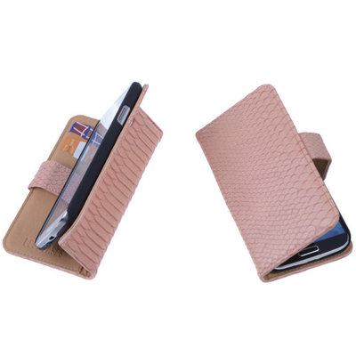 """Bestcases """"Slang"""" Pink Huawei Ascend Y300 Bookcase Cover Hoesje"""