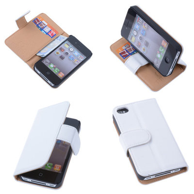 PU Leder Wit iPhone 4 4s Book/Wallet Case/Cover