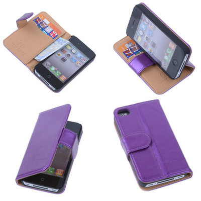 PU Leder Lila iPhone 4 4s Book/Wallet Case/Cover