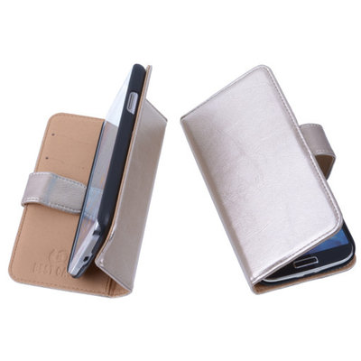 PU Leder Goud Hoesje voor Samsung Galaxy Core LTE Book/Wallet Case/Cover