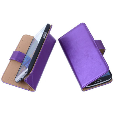 PU Leder Lila Hoesje voor Samsung Galaxy Core LTE Book/Wallet Case/Cover