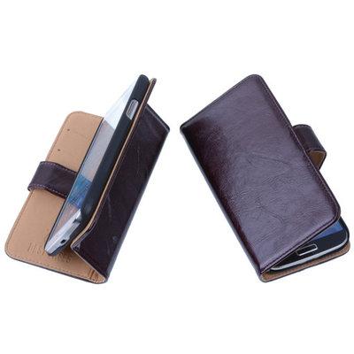 PU Leder Mocca Hoesje voor Samsung Galaxy Core LTE Book/Wallet Case/Cover