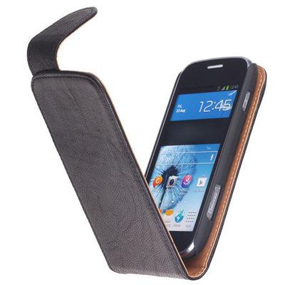 BestCases Zwart Hoesje voor HTC One M8 Kreukelleer Flipcase