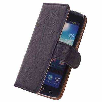 Stand Navy Blue Hoesje voor Samsung Galaxy Core LTE Echt Lederen Book