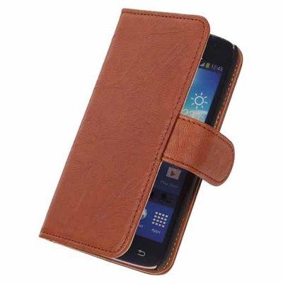 BestCases Stand Bruin Hoesje voor Samsung Galaxy Core LTE Echt Lederen Book