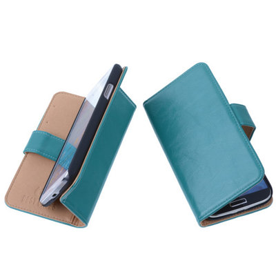 PU Leder Groen Hoesje voor Samsung Galaxy S4 Mini Book/Wallet Case/Cover