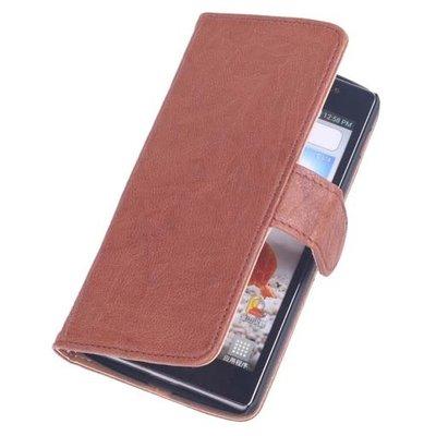 BestCases Bruin Hoesje voor LG L80 Luxe Echt Lederen Booktype