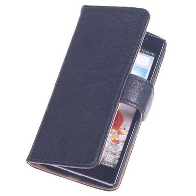 BestCases Zwart Hoesje voor LG L80 Luxe Echt Lederen Booktype