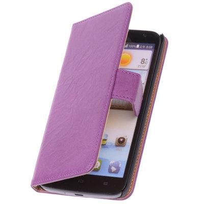BestCases Lila Hoesje voor Huawei Ascend Y330 Luxe Echt Lederen Booktype