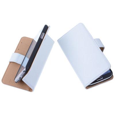 PU Leder Wit Hoesje voor LG L65 Book/Wallet Case/Cover