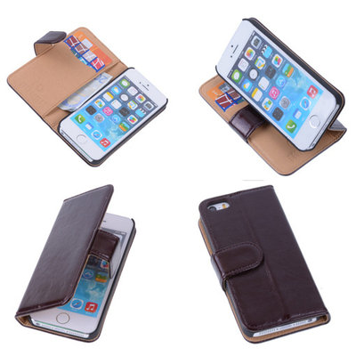 PU Leder Mocca Hoesje iPhone 5 5s Book/Wallet Case/Cover