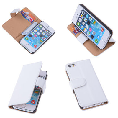 PU Leder Wit Hoesje iPhone 5 5s Book/Wallet Case/Cover