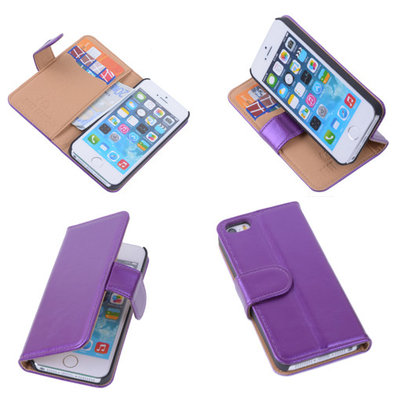 PU Leder Lila Hoesje iPhone 5 5s Book/Wallet Case/Cover