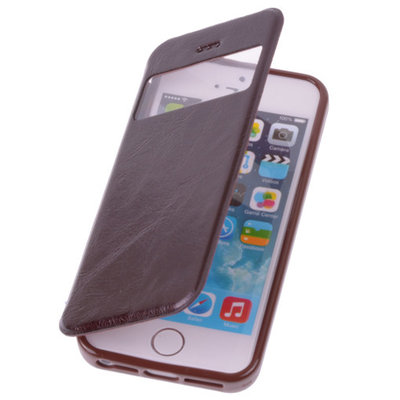 View Case Mocca Apple iPhone 5 5s TPU Bookcover Hoesje