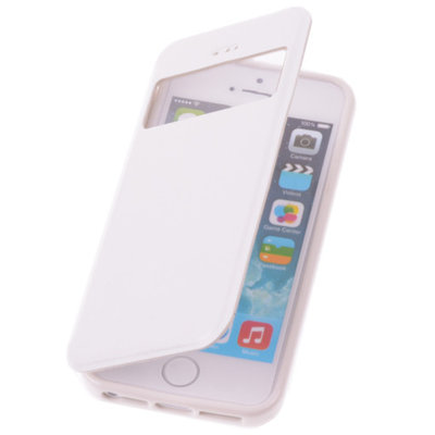 View Case Wit Apple iPhone 5 5s TPU Bookcover Hoesje
