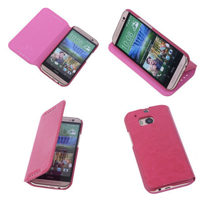 Bestcases Fuchsia Map Case Book Cover Hoesje voor HTC One M8