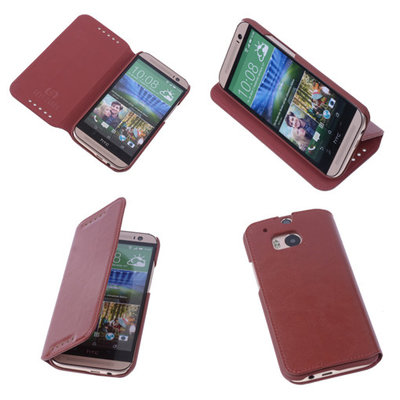 Bestcases Bruin Map Case Book Cover Hoesje voor HTC One M8
