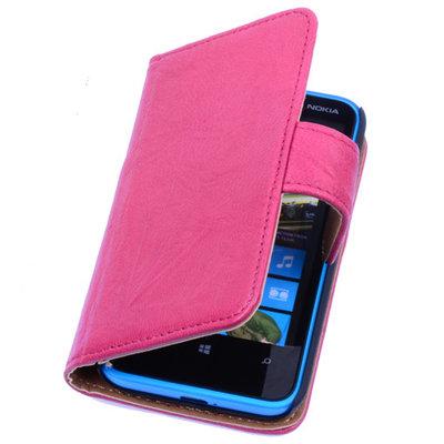 Fuchsia Hoesje voor Nokia Lumia 930 Stand Luxe Echt Lederen Book Wallet
