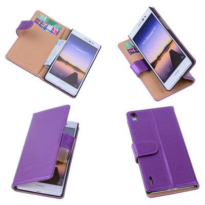 PU Leder Lila Hoesje voor Huawei Ascend P7 Book/Wallet Case/Cover