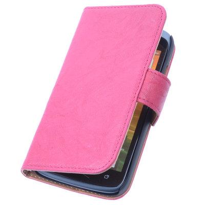 BestCases Fuchsia Hoesje voor HTC Desire 210 Stand Echt Lederen Book Wallet