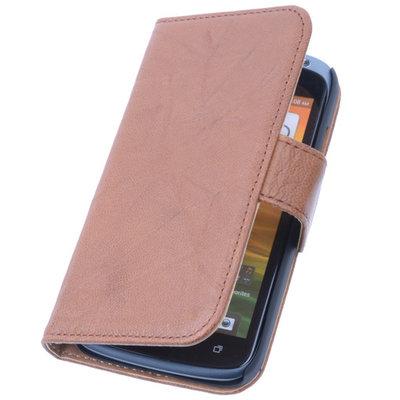 BestCases Bruin Hoesje voor HTC Desire 210 Stand Echt Lederen Book Wallet