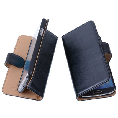 PU Leder Zwart Hoesje voor Samsung Galaxy Fresh / Trend Lite Book/Wallet Case