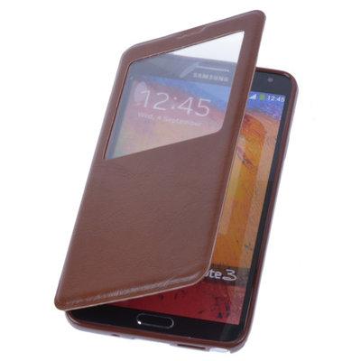 View Case Bruin Hoesje voor Samsung Galaxy S5 TPU Bookcover