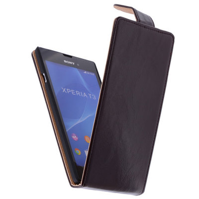 Classic Mocca Hoesje voor Sony Xperia T3 PU Leder Flip Case