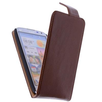 Classic Bruin Hoesje voor HTC Desire 210 PU Leder Flip Case