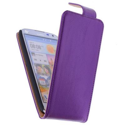Classic Lila Hoesje voor HTC Desire 210 PU Leder Flip Case