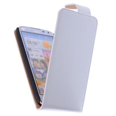 Classic Wit Hoesje voor Huawei Ascend G630 PU Leder Flip Case