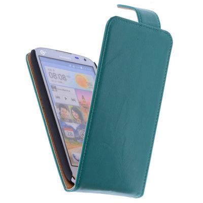 Classic Groen Hoesje voor Huawei Ascend G630 PU Leder Flip Case