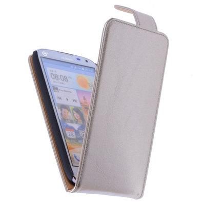 Classic Goud Hoesje voor Huawei Ascend G630 PU Leder Flip Case