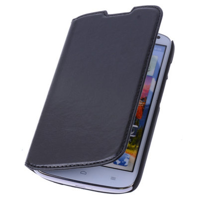 Bestcases Zwart Map Case Book Cover Hoesje voor Huawei Ascend P6