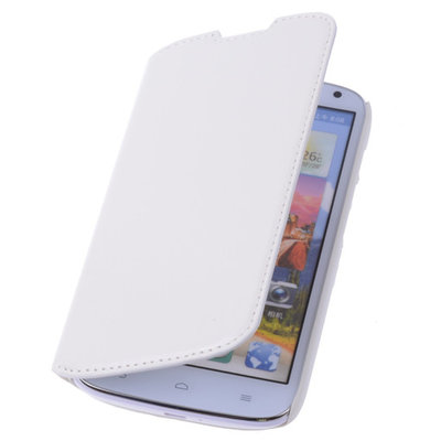 Bestcases Wit Map Case Book Cover Hoesje voor Huawei Ascend P6