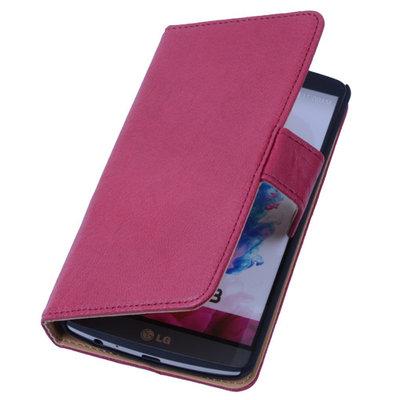 BestCases Fuchsia Hoesje voor LG G3 Luxe Echt Lederen Booktype
