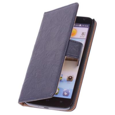 BestCases Nevy Blue Hoesje voor Huawei Ascend P6 Luxe Echt Lederen Booktype
