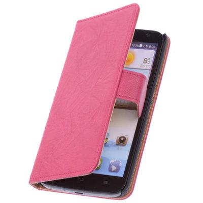 BestCases Fuchsia Hoesje voor Huawei Ascend P6 Luxe Echt Lederen Booktype