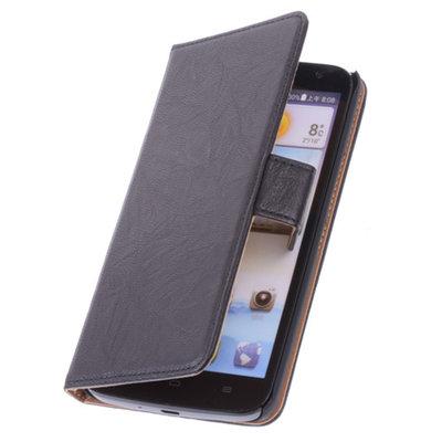 BestCases Zwart Hoesje voor Huawei Ascend P6 Luxe Echt Lederen Booktype