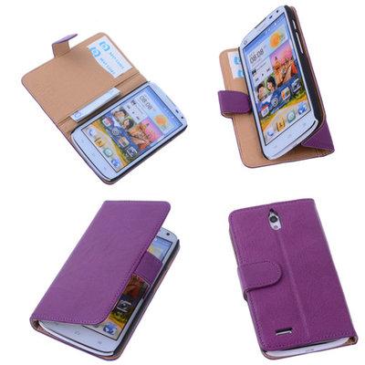 BestCases Lila Hoesje voor Huawei Ascend G610 Luxe Echt Lederen Booktype