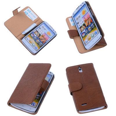 BestCases Bruin Hoesje voor Huawei Ascend G610 Luxe Echt Lederen Booktype