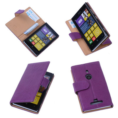 BestCases Stand Lila Echt Lederen Book Wallet Hoesje voor Nokia Lumia 925