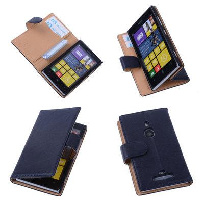 BestCases Stand Navy Blue Echt Lederen Book Wallet Hoesje voor Nokia Lumia 925