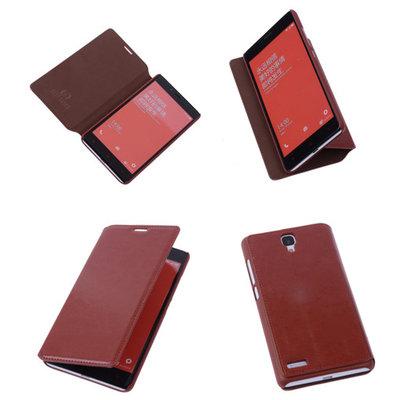 Bestcases Bruin Hoesje voor XiaoMi Redmi Note Map Case Book Cover
