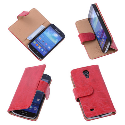 Bestcases Vintage Rood Book Cover Hoesje voor Samsung Galaxy S4 Mini i9190