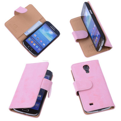 Bestcases Vintage Light Pink Book Cover Hoesje voor Samsung Galaxy S4 Mini i9190