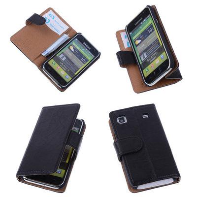 BestCases Zwart Echt Leer Booktype Hoesje voor Samsung Galaxy S Plus i9000